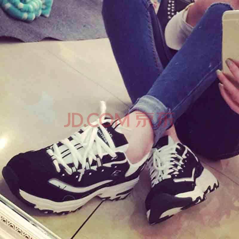 海之郎 情侣装黑色拼色休闲运动鞋韩版男士增高鞋系带男鞋799-xz01l