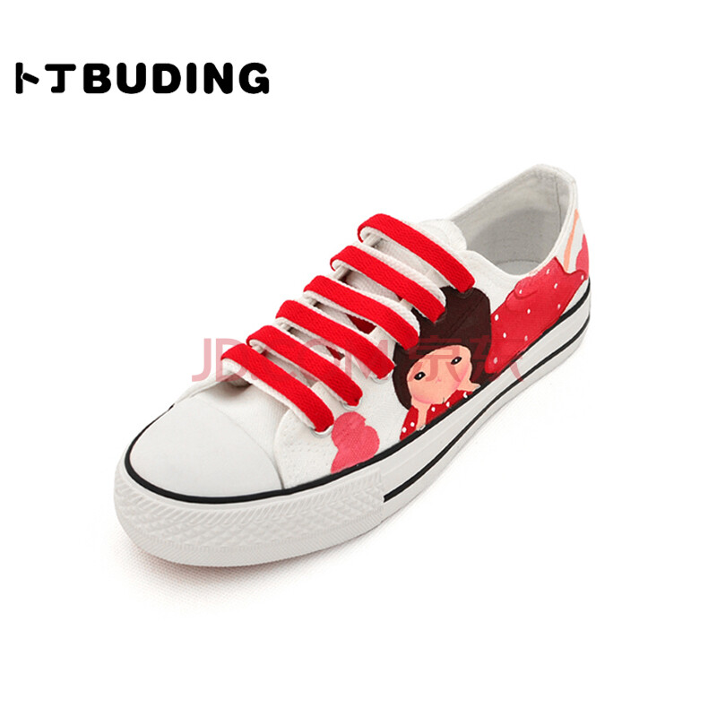 卜丁低帮系带帆布鞋 甜美卡通女孩手绘鞋 舒适平底女鞋 春款彩绘鞋子