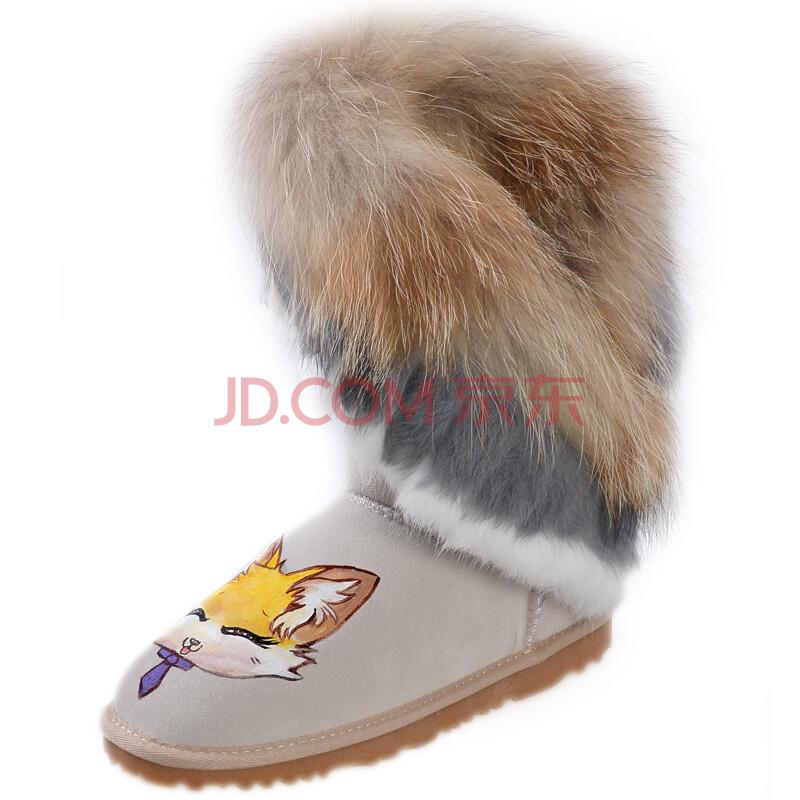 卜丁冬季手绘狐狸毛中筒雪地靴防滑冬靴兔毛流苏平跟