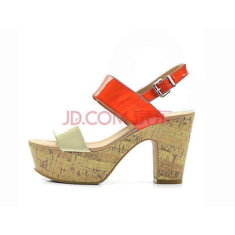 康莉 女士 112326007BEP 米色/红色优雅拼色高跟凉鞋 花色