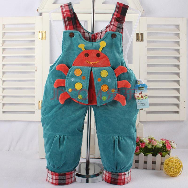 冬装纯棉 宝宝背带裤婴幼儿背带裤子保暖纯棉灯芯绒背带裤 蓝色 90cm