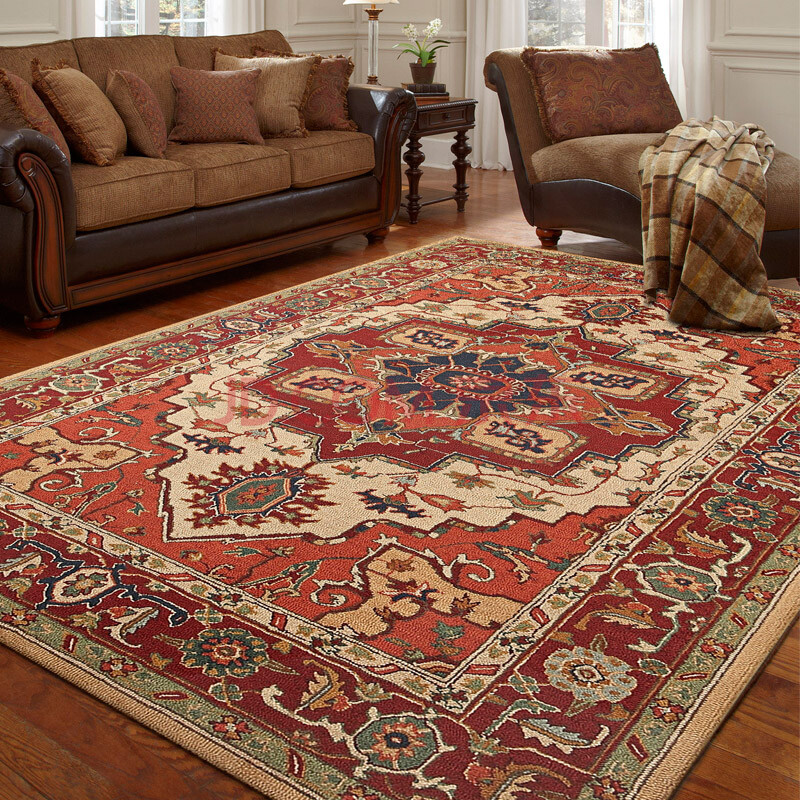 羊毛手工地毯地垫 美式简约现代客厅茶几地垫门垫 土耳其风情 165cmx
