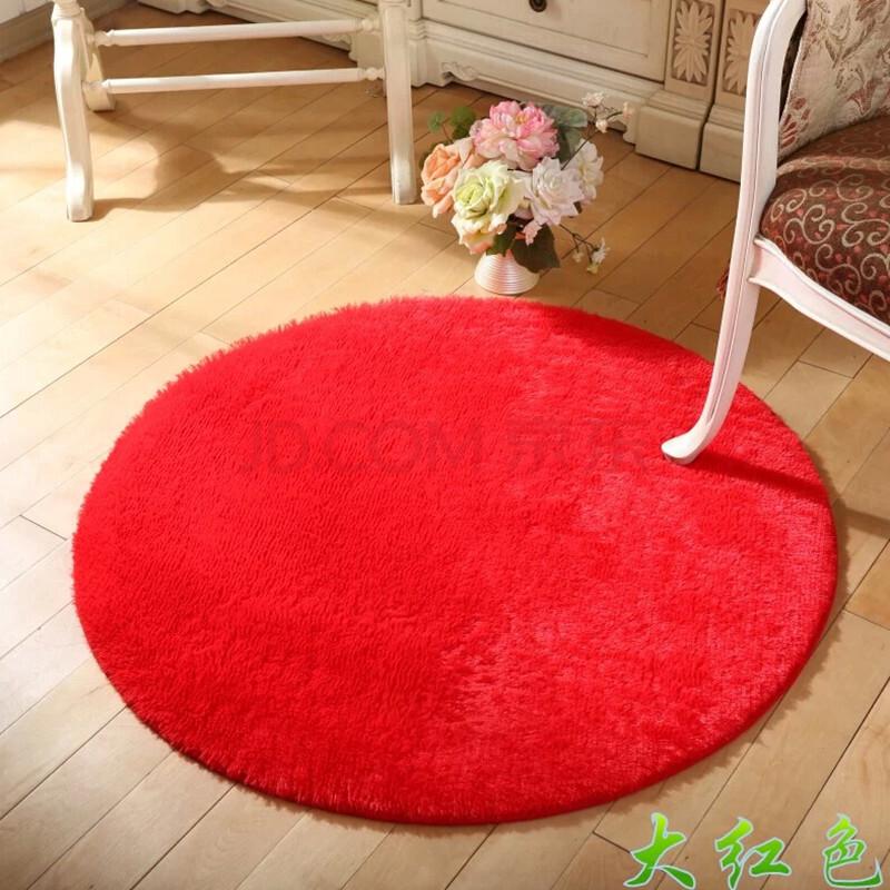 博晓 丝毛地毯 客厅卧室茶几圆形地垫 大红色 圆形直径120cm