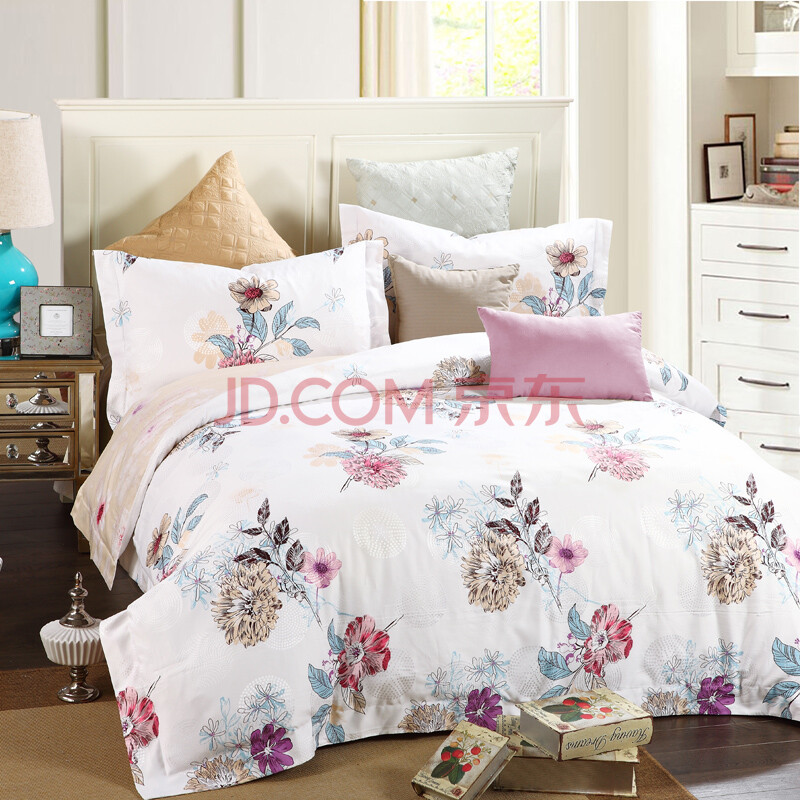 纯棉提花印花四件套全棉欧式床品套件床单