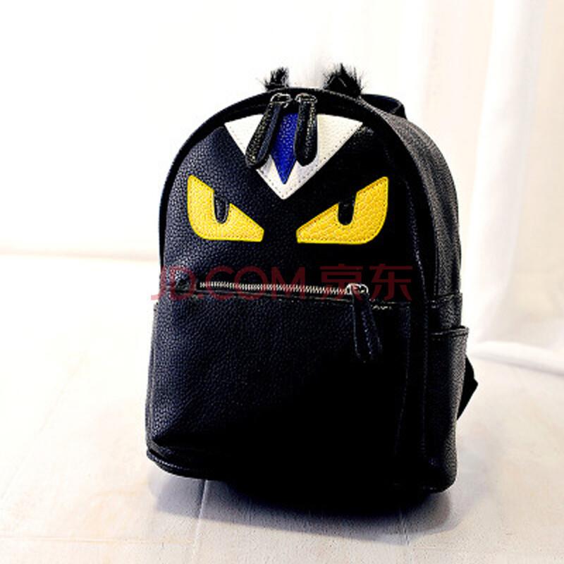 双肩包拼接女背包15春夏新款休闲包包可爱卡通背包(1001) 小号黑色