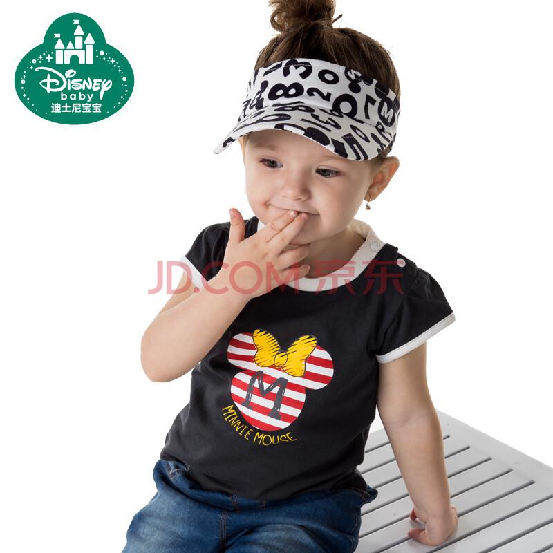 迪士尼宝宝disney baby 春夏新款女童t恤短袖宝宝纯棉