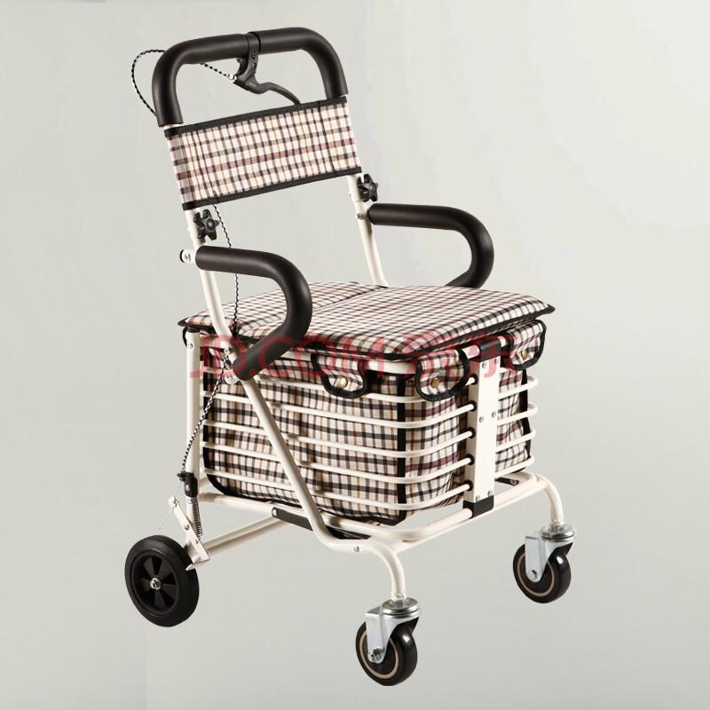 健喜老年购物车 助行 休闲 辅助 代步车可折叠 储物车 老年人买菜小拉车 老年推车可推可座