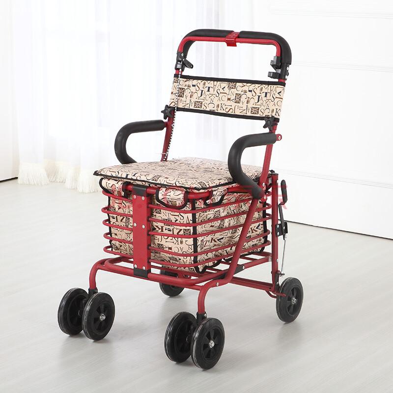 健喜老年购物 助行 休闲 代步辅助车 可折叠 储物车买菜小拉车 老年人手推车可推可座