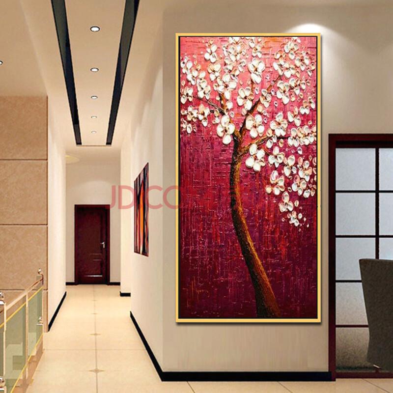 抽象花卉油画玄关挂画时尚家居走廊过道装饰有框画酒店竖版手绘壁画 l