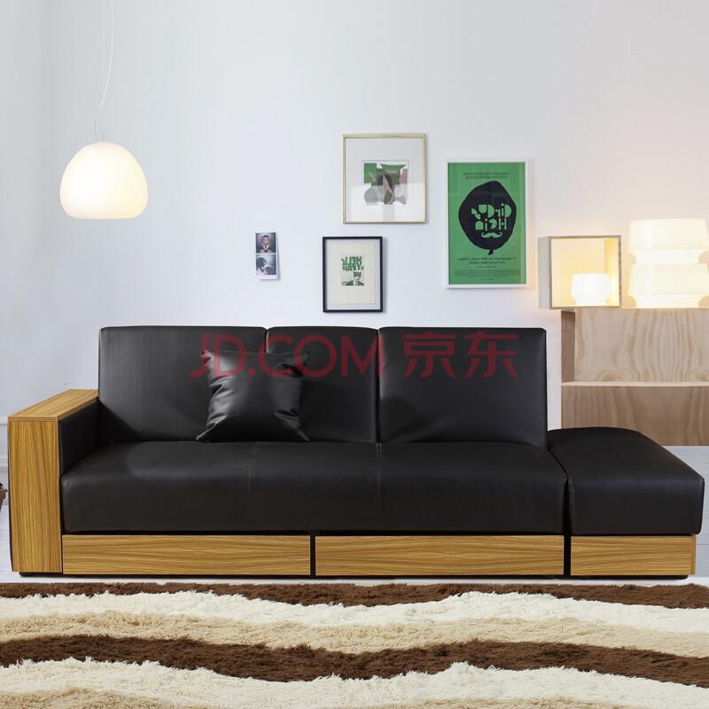 奥古拉 小户型沙发床 多功能折叠沙发 皮艺带收纳 日式简约组合 pu皮图片