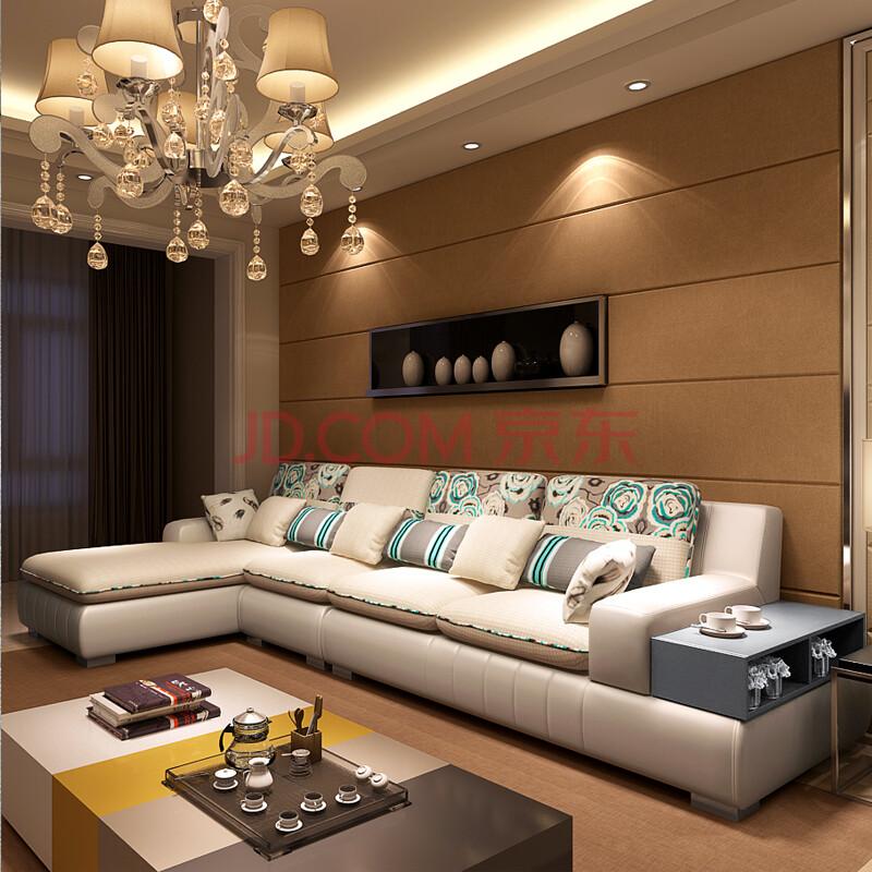 雅林 布艺沙发 现代客厅组合休闲皮配布沙发1309 白色印花 双人位 右