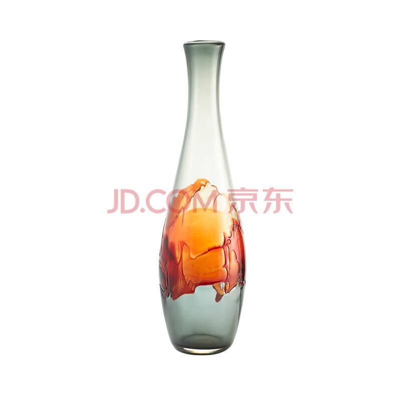 美克美家 yvvy桌面装饰摆件烟灰橘红细颈玻璃瓶中国装饰品y1001000067图片