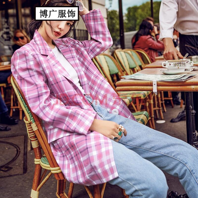 2017新款女装发时尚经典单排扣宽松格子西装外套
