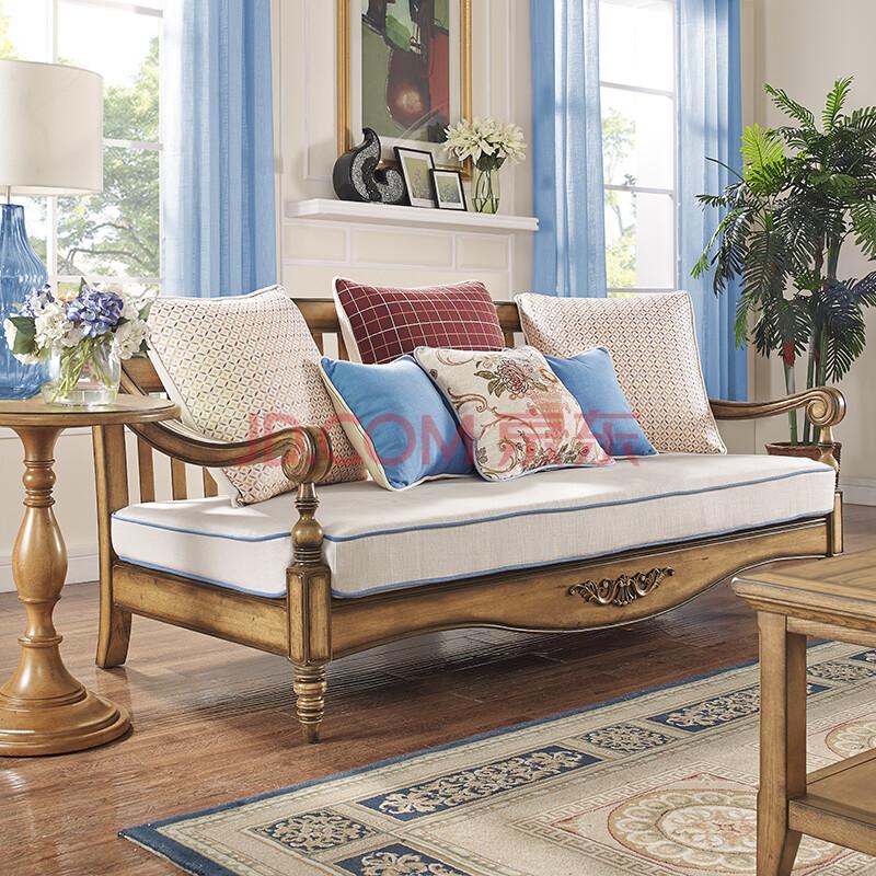 慕艺柏实木沙发组合美式简约实木家具 客厅原木色田园