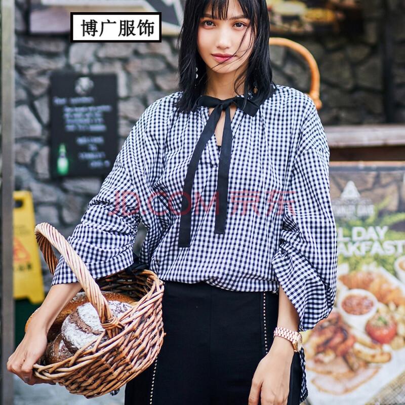 2017新款秋季女装套头大码宽松衬衫黑白格娃娃衫长袖