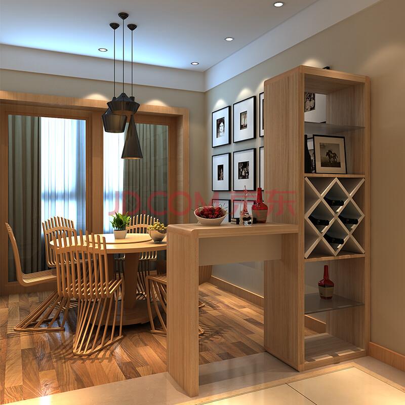 家用现代简约原木色酒柜吧台桌 北欧客厅厨房酒吧吧柜隔断柜 靠墙创意图片