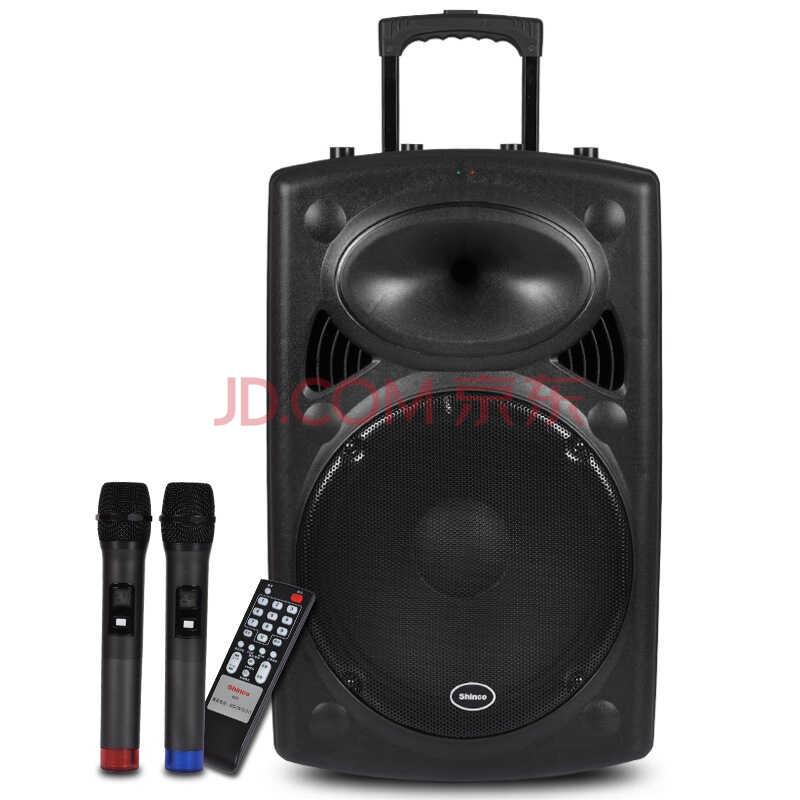 新科(Shinco)T515 15寸拉杆音箱广场舞音响户外 便携式插卡音箱移动扩音器双麦克风(黑色))