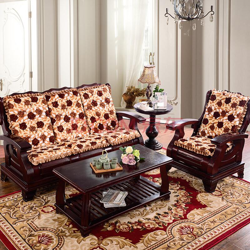 加厚毛绒高密度海绵坐垫红木质沙发垫带靠背实木木头冬季可拆洗 黄