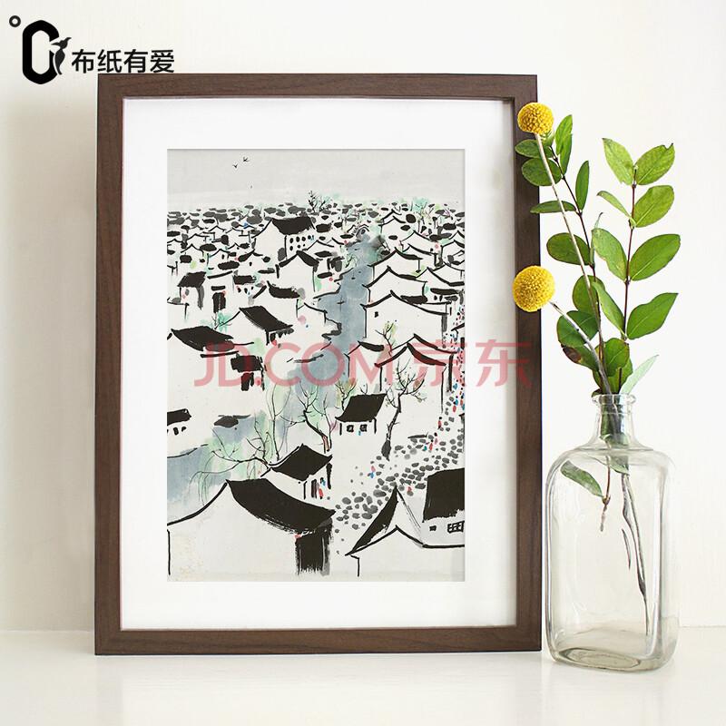 沙发背景墙三联画水墨画吴冠中大师经典作品
