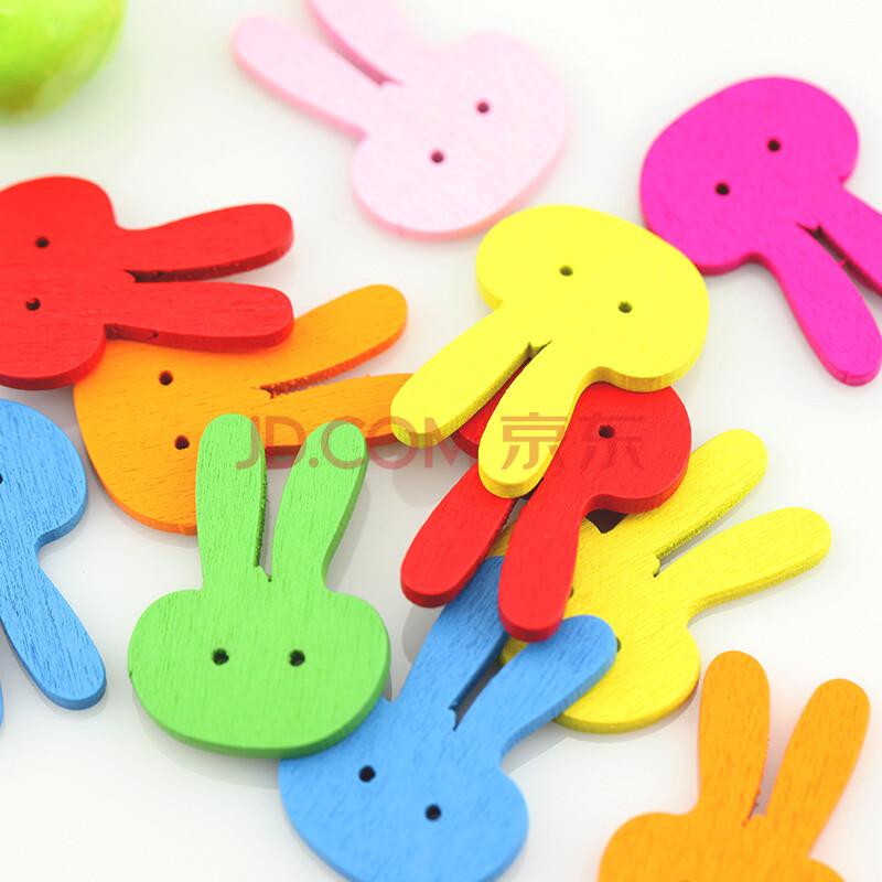 彩色卡通纽扣扣子动物木制纽扣木头扣儿童diy手工材料