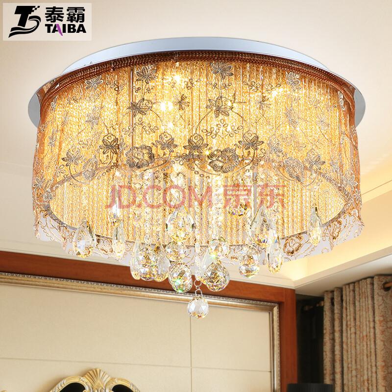 圆形吸顶灯布艺水晶灯房间灯浪漫蕾丝布纱高档餐厅灯具百搭欧式中式风图片