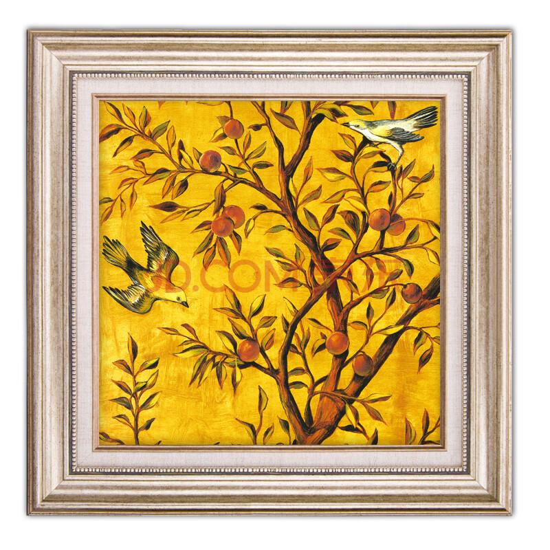 森朴 高档装饰画有框画欧式田园金色花鸟壁画客厅书房美式挂画三联画图片