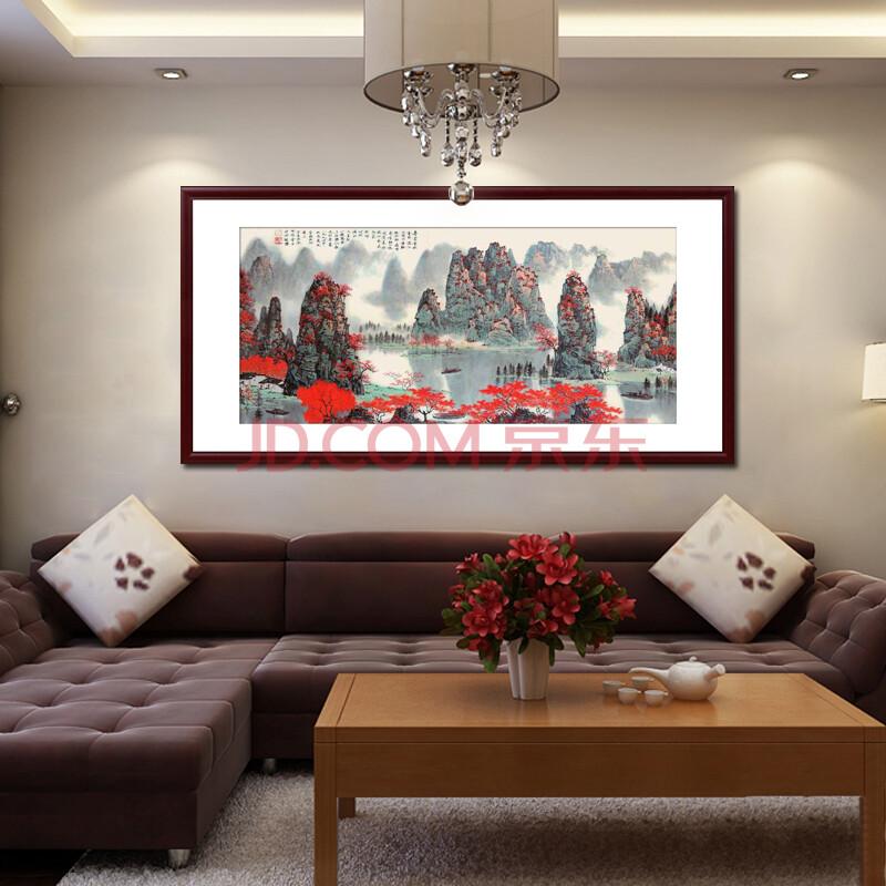 七彩亿丽 客厅沙发背景墙装饰画 国画 办公室字画书法图片
