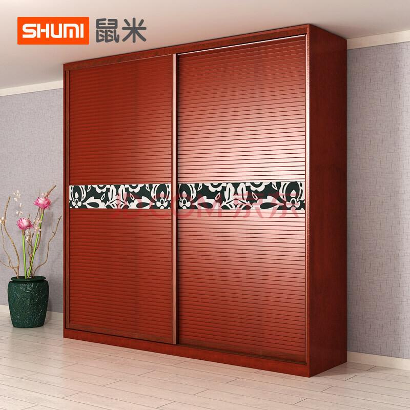 现代简约推拉门衣柜 百叶移门衣柜 白色趟门 红色小百叶款 宽度2.