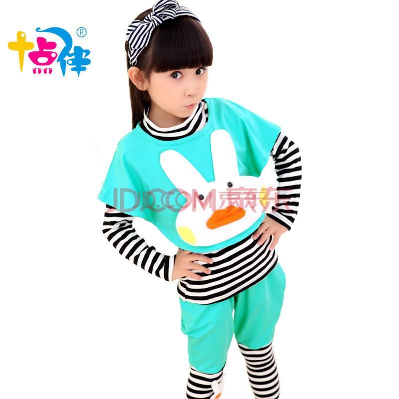 新款791012岁小女孩衣服儿童卡通休闲套装宝宝三件套