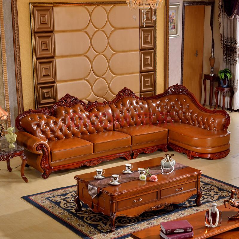 美式实木纯皮沙发