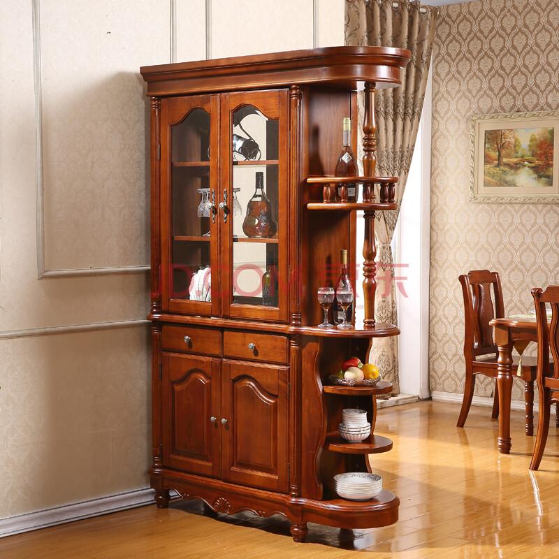 迈哲歌 全实木酒柜 美式客厅玄关柜 隔断柜双面欧式酒柜 杨木间厅柜