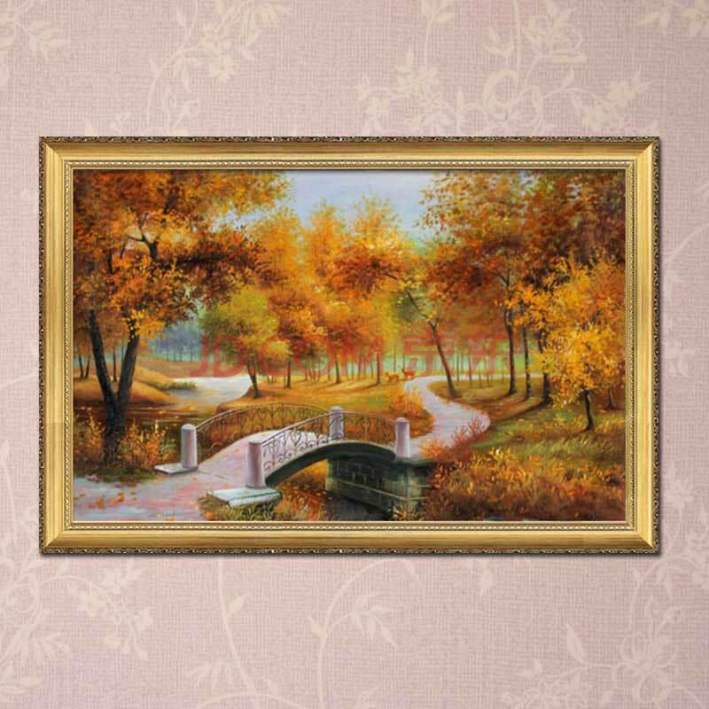 奇野手绘油画客厅装饰挂画 餐厅壁画墙画 欧式古典山水风景画酒店走廊