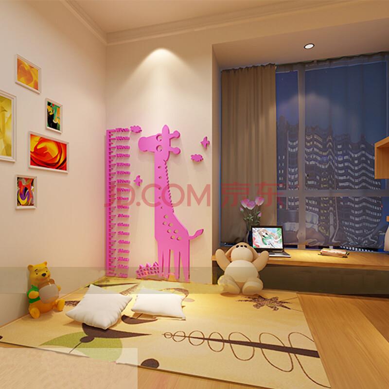 卡通长颈鹿身高贴3d亚克力立体墙贴动物量身高贴儿童房墙面壁饰贴