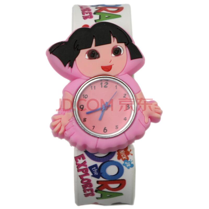 彩色漫画人物时尚礼物啪啪男孩学生表可爱女孩拍拍儿童手表卡通表果冻