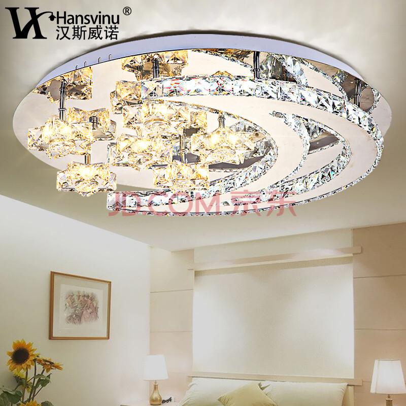 汉斯威诺 led圆形水晶灯 奢华水晶吸顶灯 现代美学客厅灯星月卧室灯hs