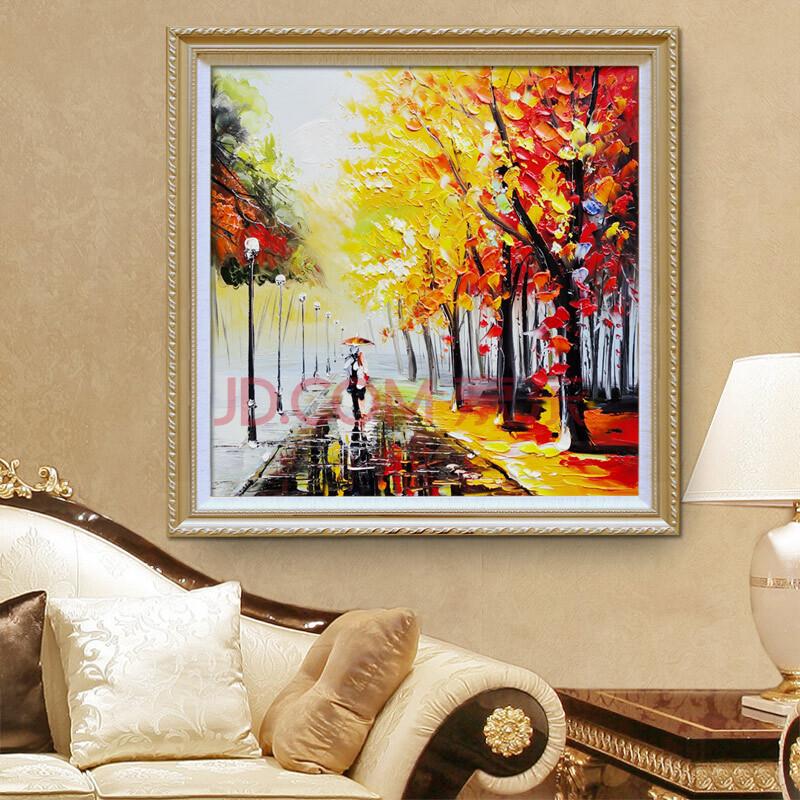 手绘油画装饰画客厅风景画餐厅