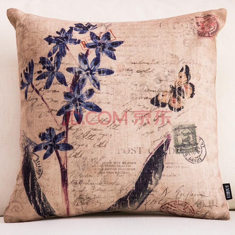 幻想先生 复古花鸟抱枕 美式乡村沙发靠垫靠背棉麻抱枕亚麻 夏季靠垫图片