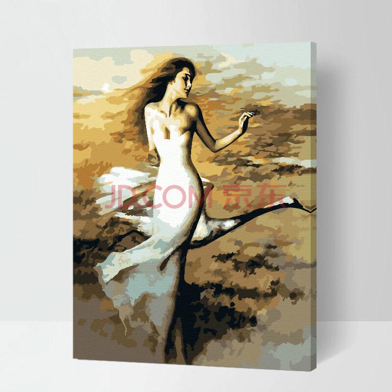 虹语荷 diy数字油画 客厅风景花卉人物情侣卡通动漫大幅 手绘装饰画