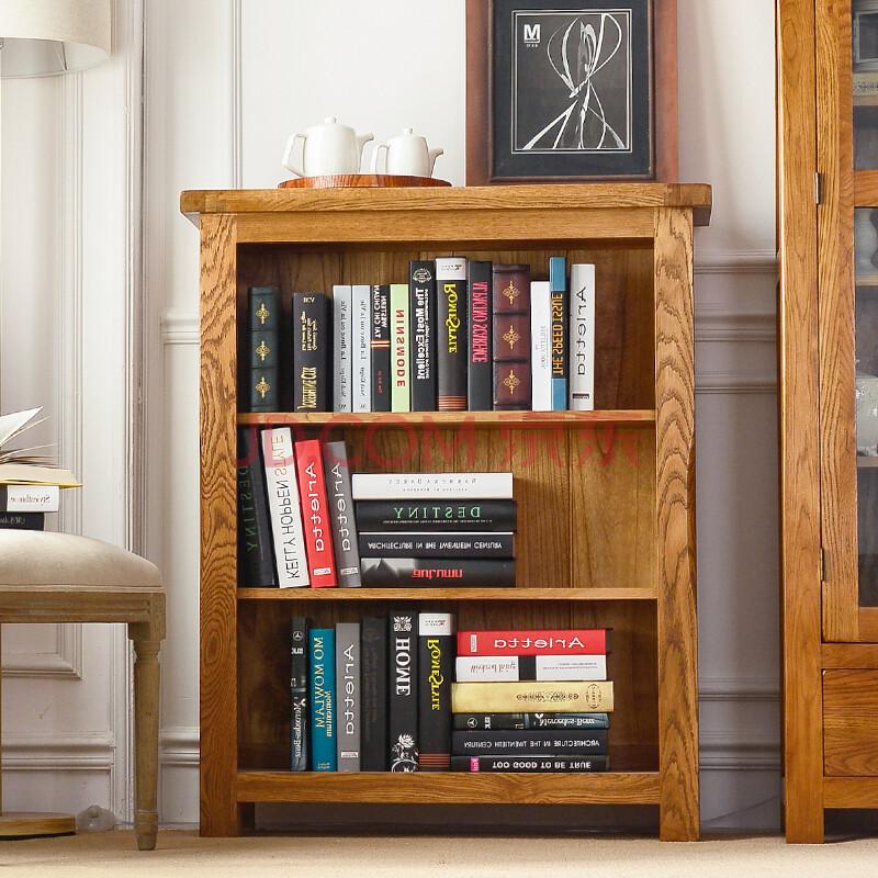 美式乡村纯橡木家具 书房矮书架图片