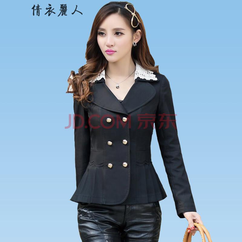 女���9j�_装新款韩版大码修身翻领蕾丝长袖女装短款小西服女士小西装女外套j807