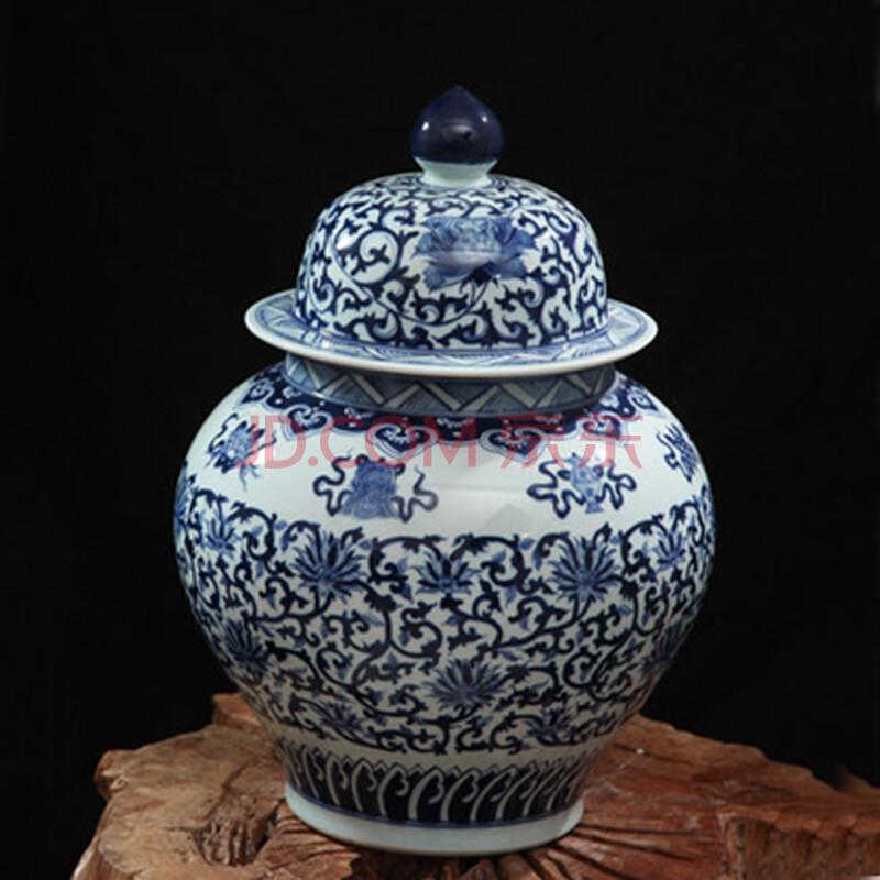 靓缘 景德镇手绘陶瓷器青花瓷盖罐小号储物罐摆件明清