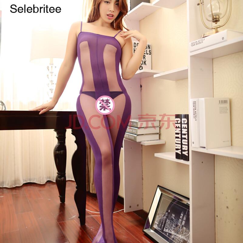 selebritee高档酒店连身拼色连身袜开档情趣情趣内衣丝袜均码哪紫色宿迁性感有图片