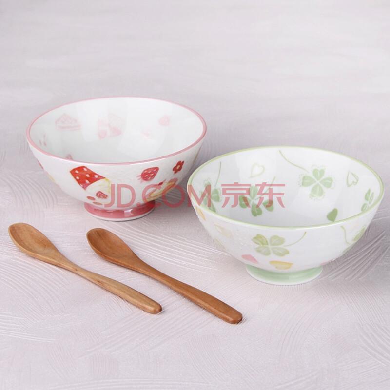 日本进口陶瓷浮雕樱花手绘亮粉釉陶瓷米饭碗沙拉碗情侣碗日式餐厅 a款
