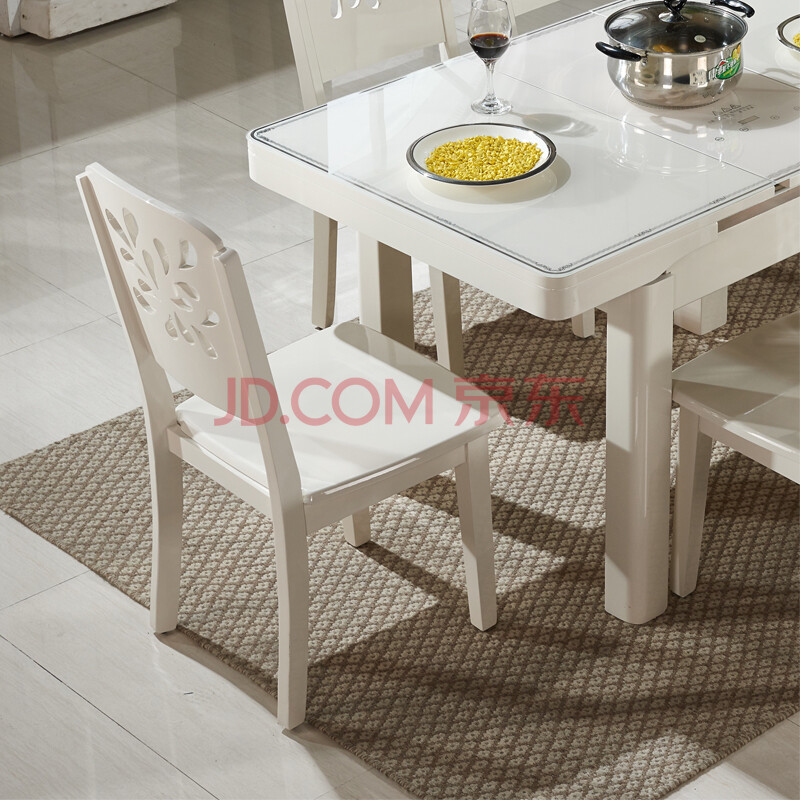 派林隆 简约餐桌大理石钢化玻璃饭桌可伸缩电磁炉多功能餐桌餐椅组合