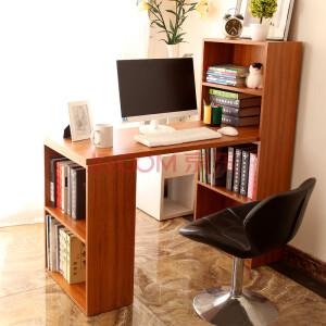台式电脑桌家用学习桌写字台书桌带书架组合办公桌简约电脑桌子
