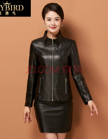 欧迪鸟品牌女装2017秋新款真皮皮衣女短款修身绵羊皮小外套 黑色 S