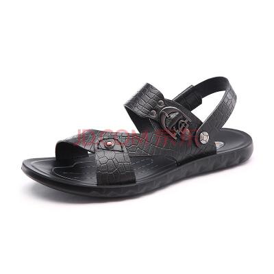 红蜻蜓男鞋 夏季清仓鳄鱼纹防滑金属扣沙滩鞋皮凉鞋 6212 黑色 42
