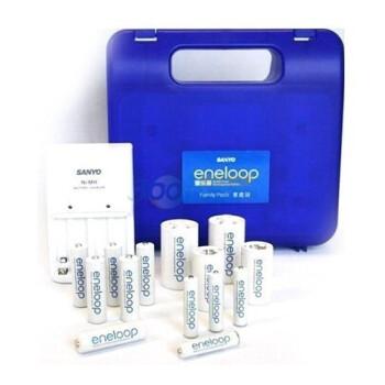 三洋爱乐普( eneloop) 二代 家庭充电套装 NC-MQN04CA-10SET (科技蓝 陶瓷