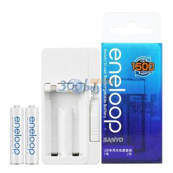 三洋爱乐普(eneloop) NC-MDUO1C04A-2S 二代USB快速充电器套装(含2粒7号爱