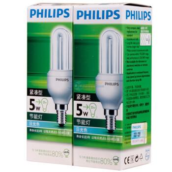 PHILIPS 飞利浦 紧凑型节能灯 5W 白炽灯色 2支装